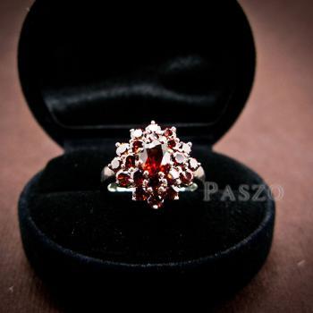 แหวนพลอยโกเมน พลอยสีแดงแก่ก่ำ แหวนเงินแท้ #2