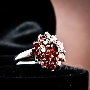 แหวนพลอยโกเมน พลอยสีแดงแก่ก่ำ แหวนเงินแท้ #3