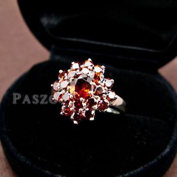 แหวนพลอยโกเมน พลอยสีแดงแก่ก่ำ แหวนเงินแท้ #5