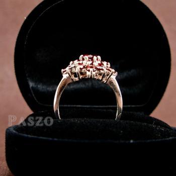 แหวนพลอยโกเมน พลอยสีแดงแก่ก่ำ แหวนเงินแท้ #6