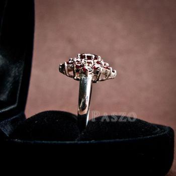 แหวนพลอยโกเมน พลอยสีแดงแก่ก่ำ แหวนเงินแท้ #7