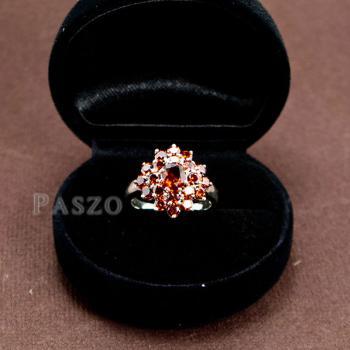 แหวนพลอยโกเมน พลอยสีแดงแก่ก่ำ แหวนเงินแท้ #8