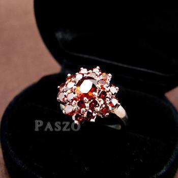 แหวนพลอยโกเมน พลอยสีแดงแก่ก่ำ แหวนเงินแท้ #9