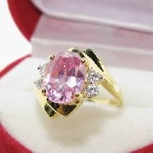 แหวนพลอยสีชมพู ประดับเพชร พิ้งค์โทพาซ แหวนทองชุบ