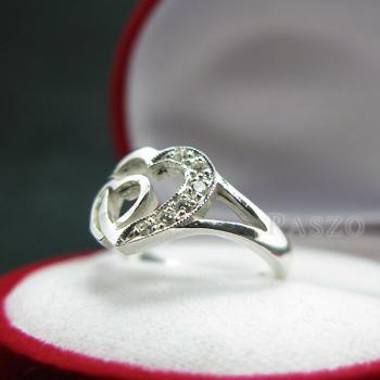แหวนเพชร แหวนรูปหัวใจ แหวนเงินฝังเพชร #2