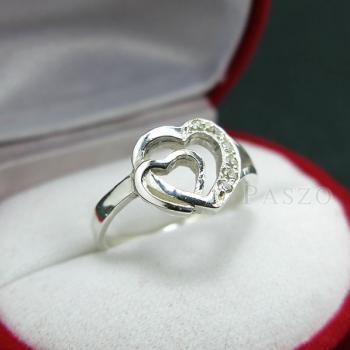 แหวนเพชร แหวนรูปหัวใจ แหวนเงินฝังเพชร #3