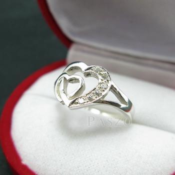 แหวนเพชร แหวนรูปหัวใจ แหวนเงินฝังเพชร #4