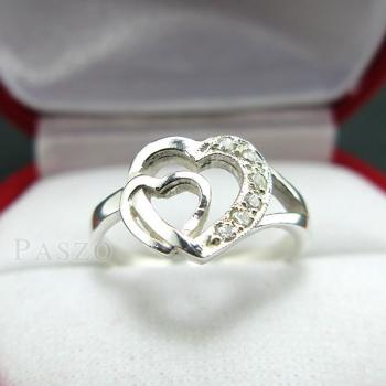 แหวนเพชร แหวนรูปหัวใจ แหวนเงินฝังเพชร #5