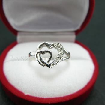 แหวนเพชร แหวนรูปหัวใจ แหวนเงินฝังเพชร #6