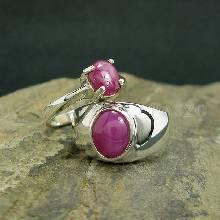 ชุดแหวนคู่รัก แหวนพลอยกินบ่เซี้ยง และพลอยทับทิมแท้ แหวนเงินแท้