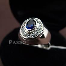 แหวนผู้ชายไพลิน แหวนผู้ชายเงินแท้ ฝังพลอยไพลิน ล้อมเพชร ชุบทองคำขาว แหวนรุ่นเล็ก แหวนผู้ชาย