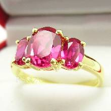 แหวนพลอยทับทิม พลอยสีแดง 3เม็ด แหวนทองแท้ ทอง90 พลอยทับทิม