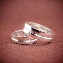 แหวนคู่ แหวนเงินเกลี้ยงเซาะร่องกลาง แหวนเงินแท้925 ชุดแหวนคู่
