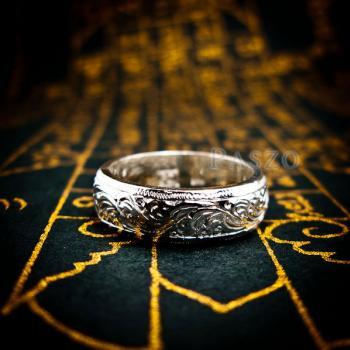 แหวนแกะลายไทย หน้ากว้าง6มิล แหวนหน้าโค้ง #4