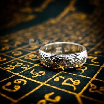 แหวนแกะลายไทย หน้ากว้าง6มิล แหวนหน้าโค้ง #6