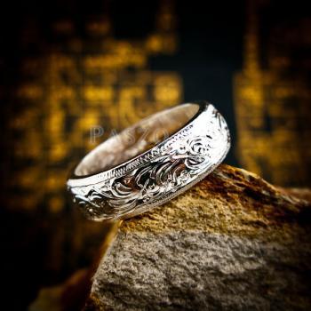 แหวนแกะลายไทย หน้ากว้าง6มิล แหวนหน้าโค้ง #7