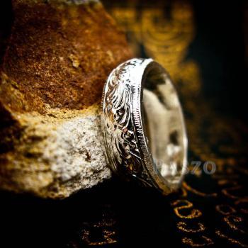 แหวนแกะลายไทย หน้ากว้าง6มิล แหวนหน้าโค้ง #8