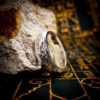 แหวนแกะลายไทย หน้ากว้าง6มิล แหวนหน้าโค้ง #2