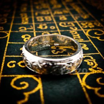 แหวนแกะลายไทย หน้ากว้าง6มิล แหวนหน้าโค้ง #5
