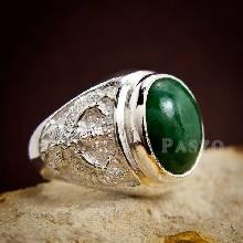แหวนหยก แหวนพญาครุฑ แหวนผู้ชายเงินแท้ ฝังหยกแท้ พญาครุฑ แหวนผู้ชาย