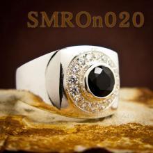 แหวนเงินผู้ชาย แหวนนิลแท้ ล้อมเพชร แหวนทรงสี่เหลี่ยม แหวนเงิน