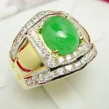 แหวนหยก แหวนทองผู้ชาย แหวนทอง90 ฝังหยก ล้อมเพชร
