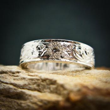 แหวนเพชร แกะสลักลายไทยรอบวง แหวนเงินฝังเพชร #2