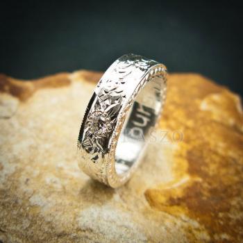 แหวนเพชร แกะสลักลายไทยรอบวง แหวนเงินฝังเพชร #3