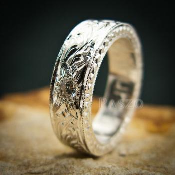 แหวนเพชร แกะสลักลายไทยรอบวง แหวนเงินฝังเพชร #6