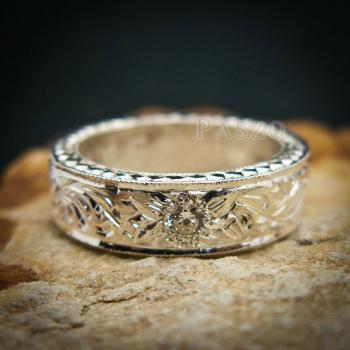 แหวนเพชร แกะสลักลายไทยรอบวง แหวนเงินฝังเพชร #9