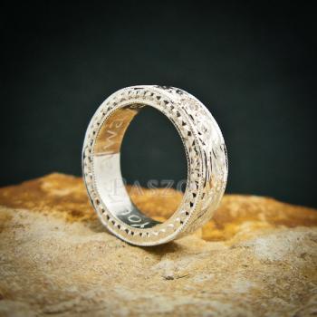 แหวนเพชร แกะสลักลายไทยรอบวง แหวนเงินฝังเพชร #4