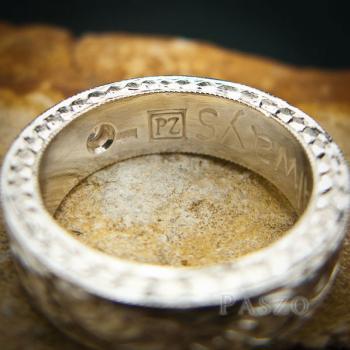 แหวนเพชร แกะสลักลายไทยรอบวง แหวนเงินฝังเพชร #5