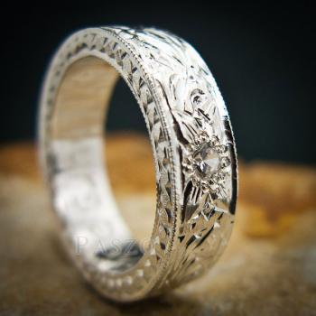 แหวนเพชร แกะสลักลายไทยรอบวง แหวนเงินฝังเพชร #8