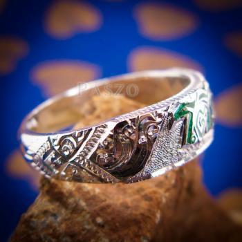 แหวนลงยาสีเขียว แหวนนามสกุล แหวนเงินแท้ #2
