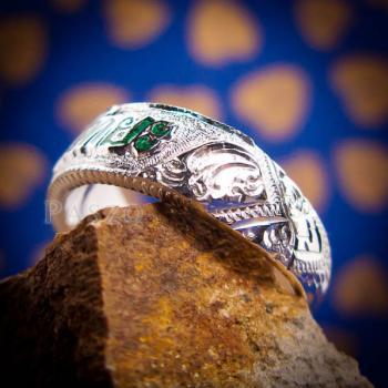 แหวนลงยาสีเขียว แหวนนามสกุล แหวนเงินแท้ #3