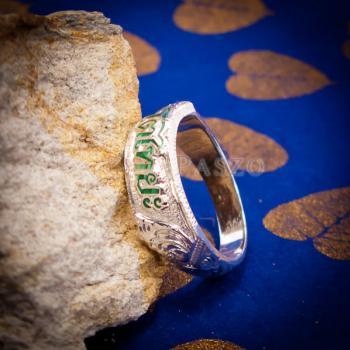 แหวนลงยาสีเขียว แหวนนามสกุล แหวนเงินแท้ #5