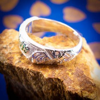 แหวนลงยาสีเขียว แหวนนามสกุล แหวนเงินแท้ #9