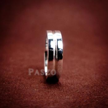 แหวนเซาะร่อง หน้ากว้าง4มิล แหวนเงินแท้ #6