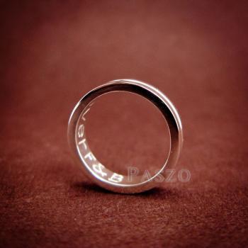 แหวนเซาะร่อง หน้ากว้าง4มิล แหวนเงินแท้ #2