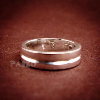 แหวนเซาะร่อง หน้ากว้าง4มิล แหวนเงินแท้ #5