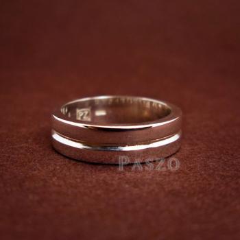 แหวนเซาะร่อง หน้ากว้าง6มิล แหวนเงินแท้ #6