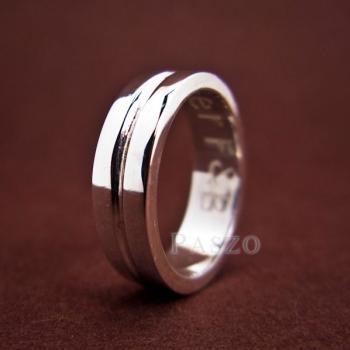 แหวนเซาะร่อง หน้ากว้าง6มิล แหวนเงินแท้ #7