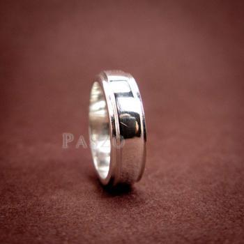 แหวนลดระดับขอบ หน้ากว้าง6มิล แหวนเงินแท้ #4