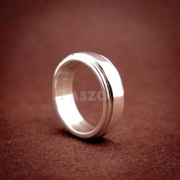 แหวนลดระดับขอบ หน้ากว้าง6มิล แหวนเงินแท้ #2
