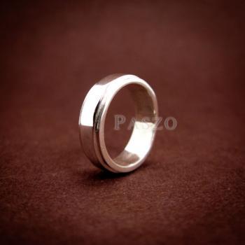 แหวนลดระดับขอบ หน้ากว้าง6มิล แหวนเงินแท้ #5