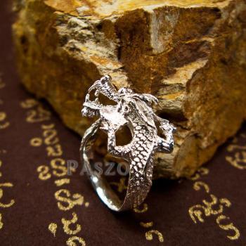 แหวนมังกร แหวนเงินแท้รูปมังกร แหวนปรับขนาดได้ #6