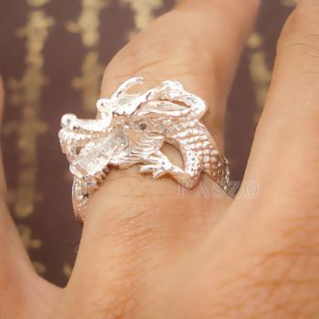 แหวนมังกร แหวนเงินแท้รูปมังกร แหวนปรับขนาดได้ #8