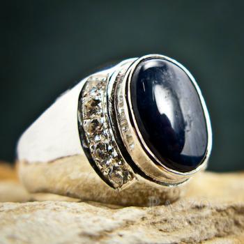 แหวนนิหร่า แหวนผู้ชายเงินแท้ แหวนไพลิน #4