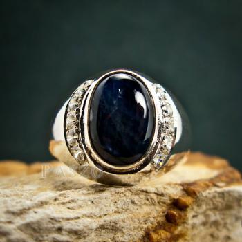 แหวนนิหร่า แหวนผู้ชายเงินแท้ แหวนไพลิน #7