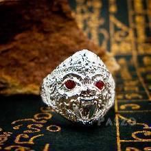 แหวนหนุมาน ฝังโกเมน พลอยสีแดงก่ำ แหวนเงินแท้ 925 แหวนผู้ชาย